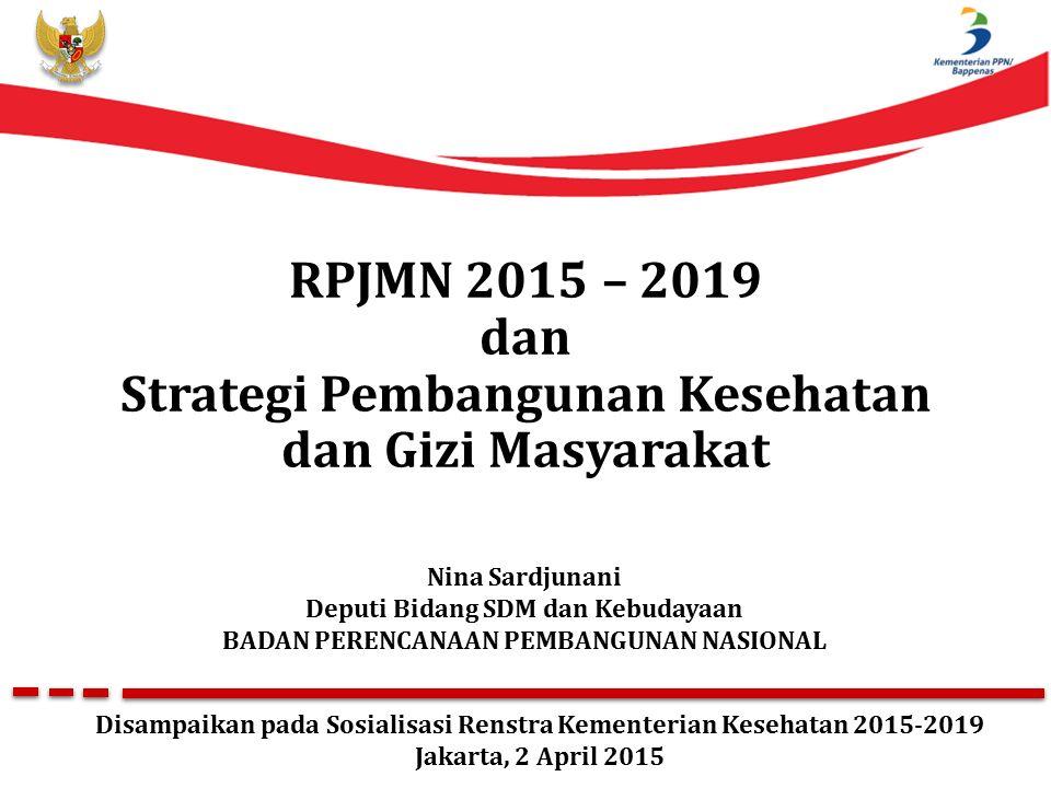 RPJMN 2015 – 2019 dan Strategi Pembangunan Kesehatan dan Gizi Masyarakat Nina Sardjunani Deputi Bidang SDM dan Kebudayaan BADAN PERENCANAAN PEMBANGUNAN NASIONAL Disampaikan pada Sosialisasi Renstra Kementerian Kesehatan 2015-2019 Jakarta, 2 April 2015
