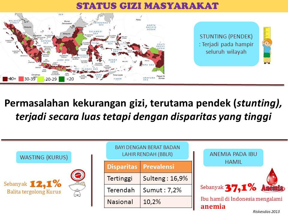 STUNTING (PENDEK) : Terjadi pada hampir seluruh wilayah STATUS GIZI MASYARAKAT ANEMIA PADA IBU HAMIL WASTING (KURUS) Sebanyak Ibu hamil di Indonesia mengalami anemia 37,1% Balita tergolong Kurus 12,1% Sebanyak BAYI DENGAN BERAT BADAN LAHIR RENDAH (BBLR) DisparitasPrevalensi TertinggiSulteng : 16,9% TerendahSumut : 7,2% Nasional10,2% Riskesdas 2013 40+ 30-39 20-29 <20 Permasalahan kekurangan gizi, terutama pendek (stunting), terjadi secara luas tetapi dengan disparitas yang tinggi