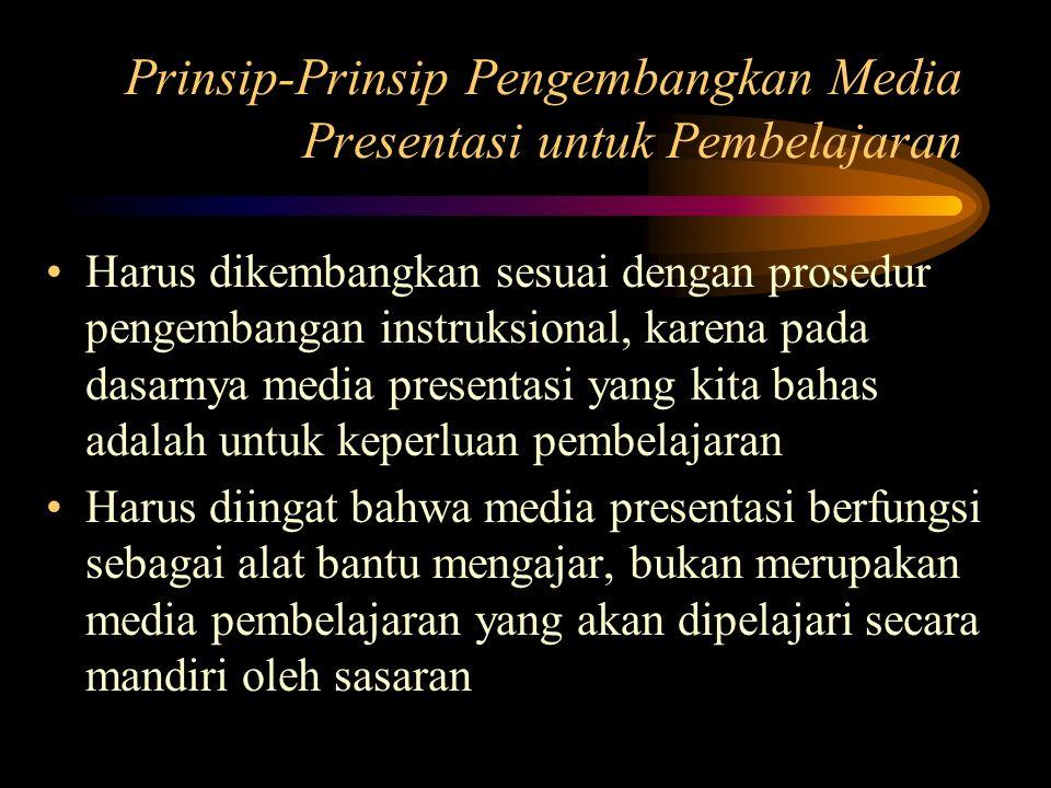 Prinsip-Prinsip Pengembangkan Media Presentasi untuk Pembelajaran Harus dikembangkan sesuai dengan prosedur pengembangan instruksional, karena pada da
