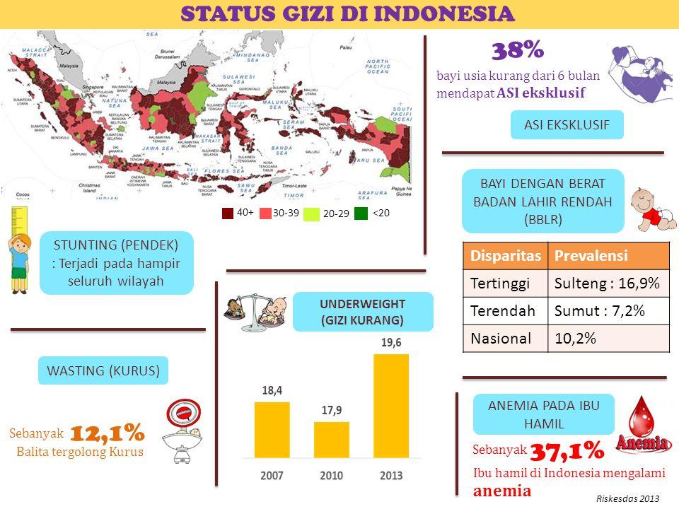 STUNTING (PENDEK) : Terjadi pada hampir seluruh wilayah STATUS GIZI DI INDONESIA ANEMIA PADA IBU HAMIL UNDERWEIGHT (GIZI KURANG) WASTING (KURUS) 38% bayi usia kurang dari 6 bulan mendapat ASI eksklusif ASI EKSKLUSIF Sebanyak Ibu hamil di Indonesia mengalami anemia 37,1% Balita tergolong Kurus 12,1% Sebanyak BAYI DENGAN BERAT BADAN LAHIR RENDAH (BBLR) DisparitasPrevalensi TertinggiSulteng : 16,9% TerendahSumut : 7,2% Nasional10,2% Riskesdas 2013 40+ 30-39 20-29 <20
