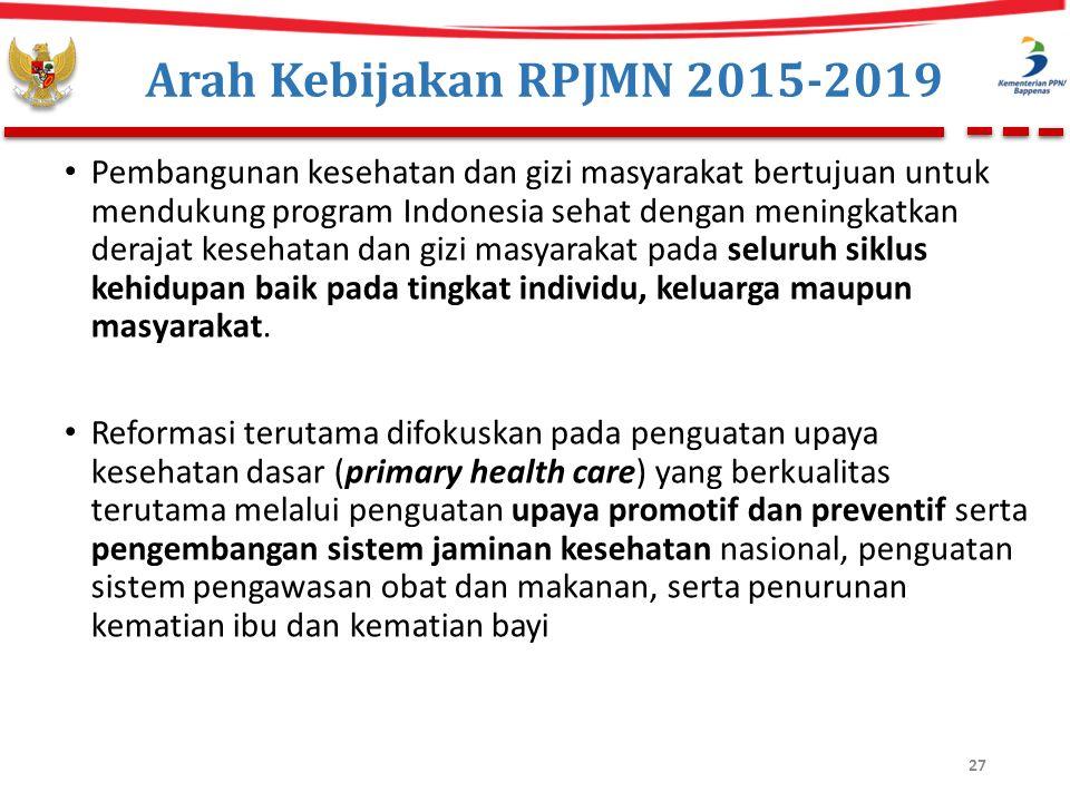 Arah Kebijakan RPJMN 2015-2019 Pembangunan kesehatan dan gizi masyarakat bertujuan untuk mendukung program Indonesia sehat dengan meningkatkan derajat kesehatan dan gizi masyarakat pada seluruh siklus kehidupan baik pada tingkat individu, keluarga maupun masyarakat.