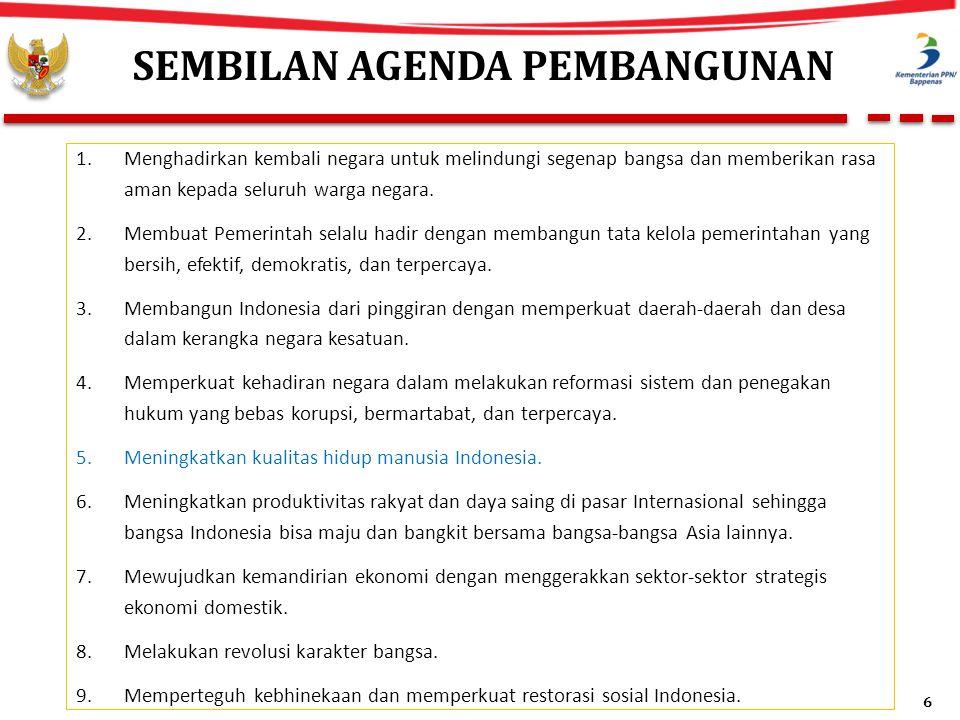 Menuju Indonesia yang Jauh Lebih Baik 1.Mengejar peningkatan daya saing 2.Meningkatkan kualitas manusia, termasuk melalui pembangunan mental 3.Memanfaatkan dan mengembalikan potensi yang hilang di sektor maritim dan kelautan 4.Meningkatkan pertumbuhan ekonomi yang berkualitas 5.Mengurangi ketimpangan antarwilayah 6.Memulihkan kerusakan lingkungan 7.Memajukan kehidupan bermasyarakat 7