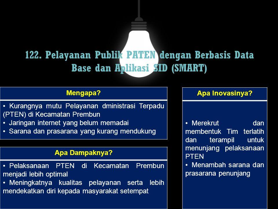 122. Pelayanan Publik PATEN dengan Berbasis Data Base dan Aplikasi SID (SMART) Mengapa? Kurangnya mutu Pelayanan dministrasi Terpadu (PTEN) di Kecamat