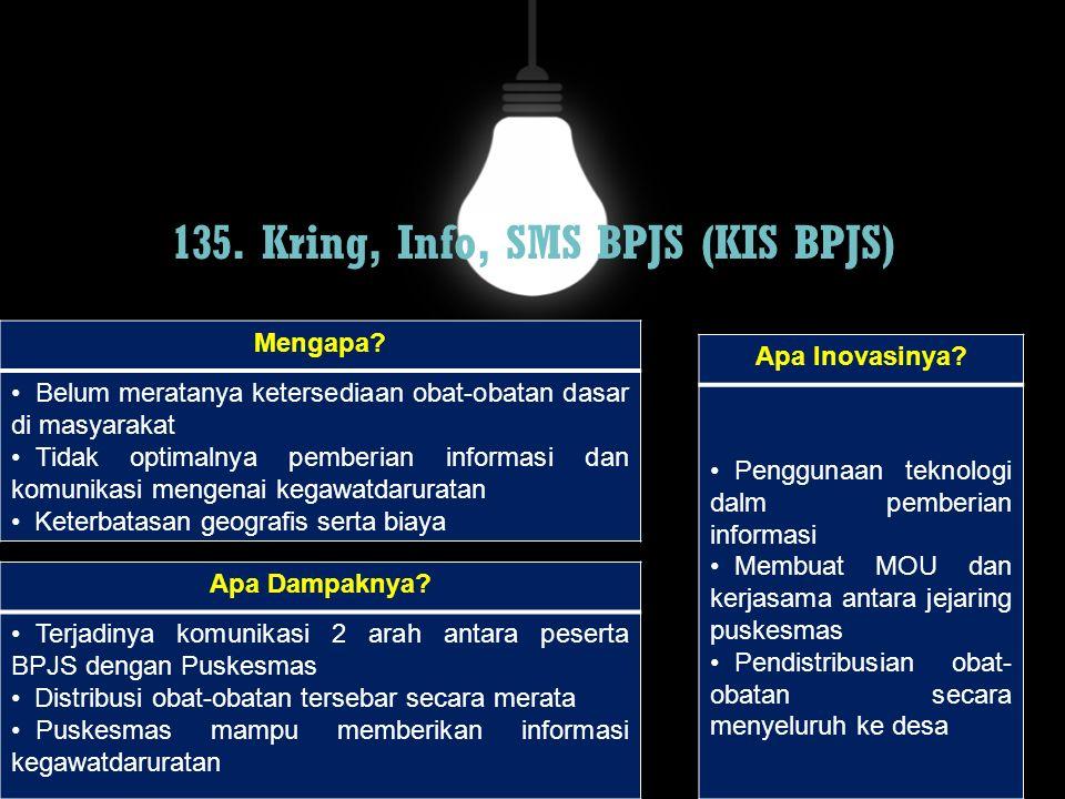 135. Kring, Info, SMS BPJS (KIS BPJS) Mengapa? Belum meratanya ketersediaan obat-obatan dasar di masyarakat Tidak optimalnya pemberian informasi dan k