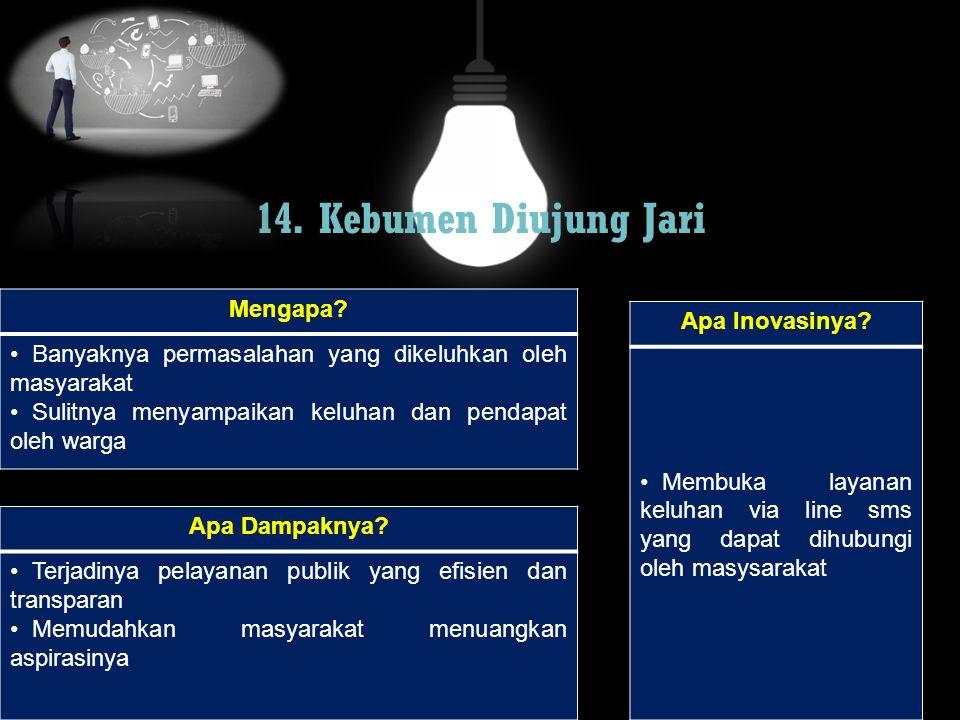 14. Kebumen Diujung Jari Mengapa? Banyaknya permasalahan yang dikeluhkan oleh masyarakat Sulitnya menyampaikan keluhan dan pendapat oleh warga Apa Dam