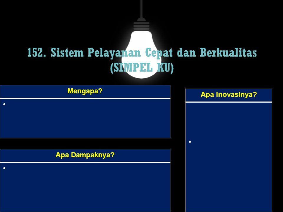 152. Sistem Pelayanan Cepat dan Berkualitas (SIMPEL KU) Mengapa? Apa Dampaknya? Apa Inovasinya?