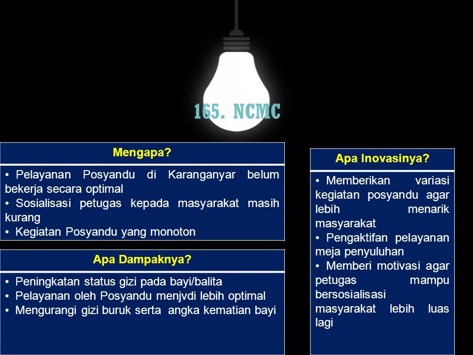 165. NCMC Mengapa? Pelayanan Posyandu di Karanganyar belum bekerja secara optimal Sosialisasi petugas kepada masyarakat masih kurang Kegiatan Posyandu