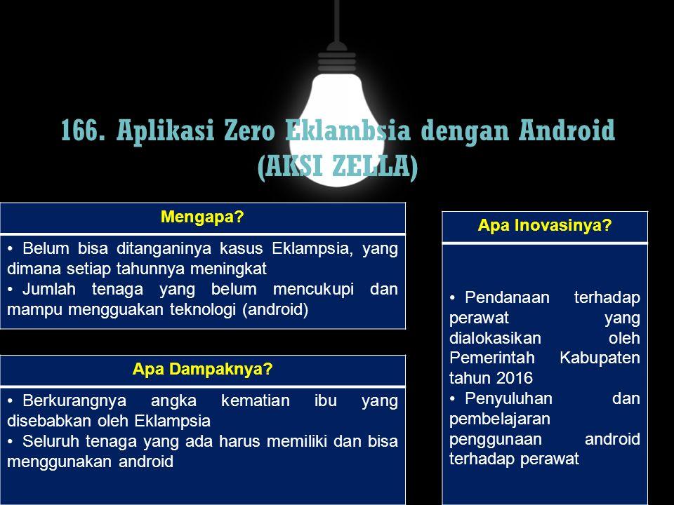 166. Aplikasi Zero Eklambsia dengan Android (AKSI ZELLA) Mengapa? Belum bisa ditanganinya kasus Eklampsia, yang dimana setiap tahunnya meningkat Jumla