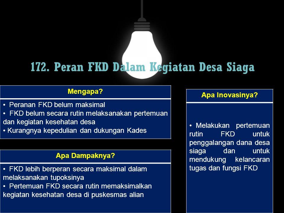 172. Peran FKD Dalam Kegiatan Desa Siaga Mengapa? Peranan FKD belum maksimal FKD belum secara rutin melaksanakan pertemuan dan kegiatan kesehatan desa