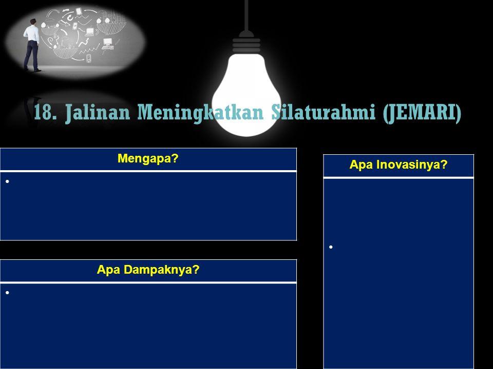 18. Jalinan Meningkatkan Silaturahmi (JEMARI) Mengapa? Apa Dampaknya? Apa Inovasinya?