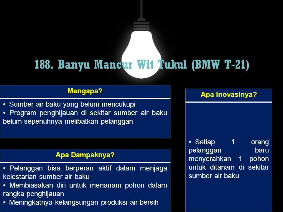 188. Banyu Mancur Wit Tukul (BMW T-21) Mengapa? Sumber air baku yang belum mencukupi Program penghijauan di sekitar sumber air baku belum sepenuhnya m