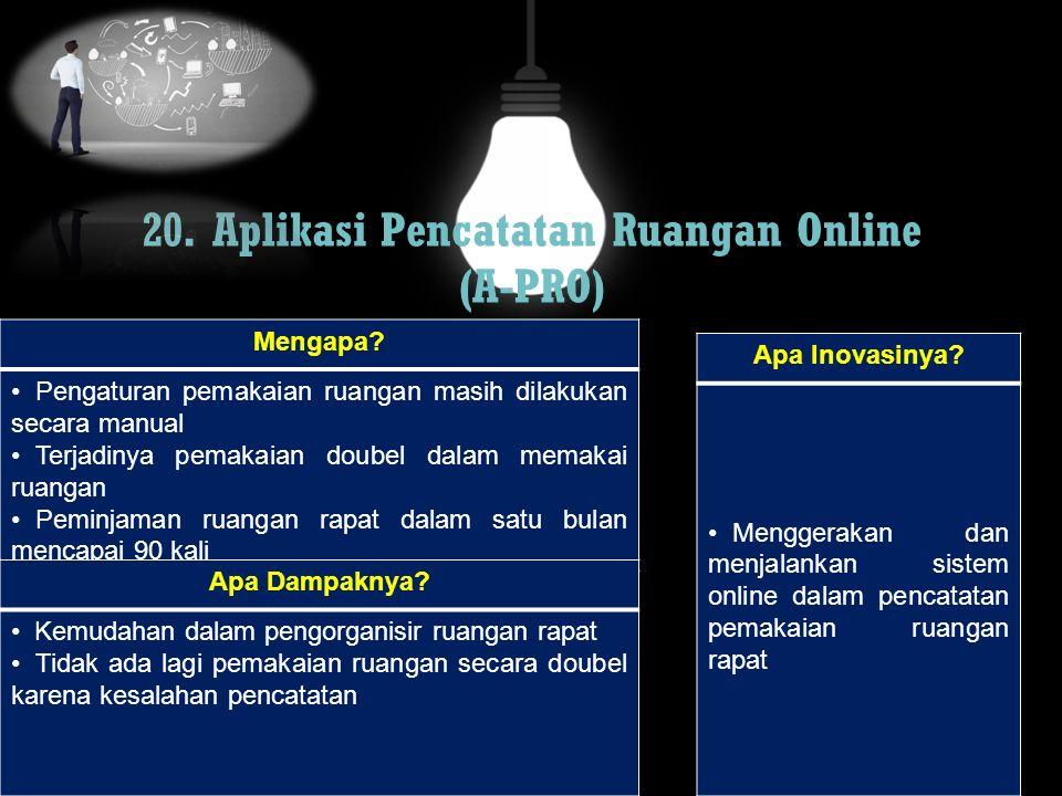 20. Aplikasi Pencatatan Ruangan Online (A-PRO) Mengapa? Pengaturan pemakaian ruangan masih dilakukan secara manual Terjadinya pemakaian doubel dalam m