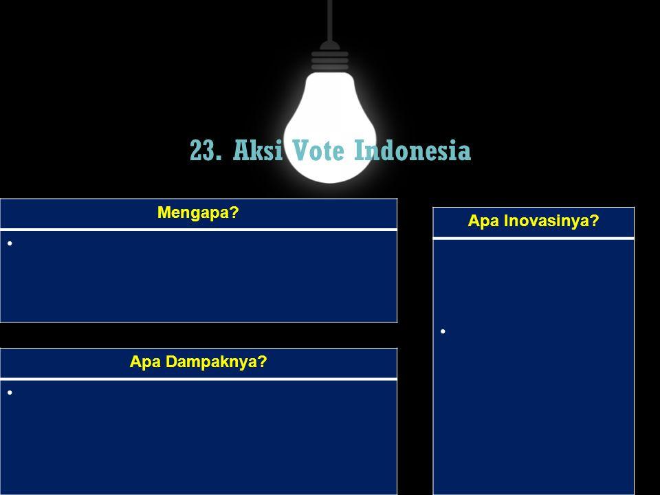 23. Aksi Vote Indonesia Mengapa? Apa Dampaknya? Apa Inovasinya?