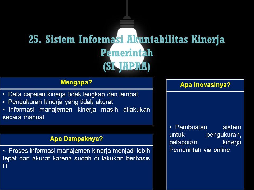 25. Sistem Informasi Akuntabilitas Kinerja Pemerintah (SI JAPRA) Mengapa? Data capaian kinerja tidak lengkap dan lambat Pengukuran kinerja yang tidak