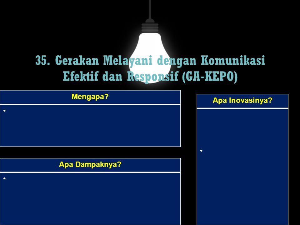 35. Gerakan Melayani dengan Komunikasi Efektif dan Responsif (GA-KEPO) Mengapa? Apa Dampaknya? Apa Inovasinya?