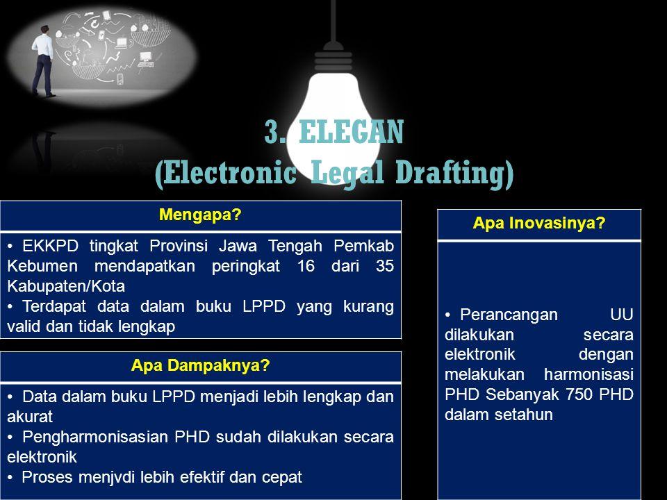 3. ELEGAN (Electronic Legal Drafting) Mengapa? EKKPD tingkat Provinsi Jawa Tengah Pemkab Kebumen mendapatkan peringkat 16 dari 35 Kabupaten/Kota Terda