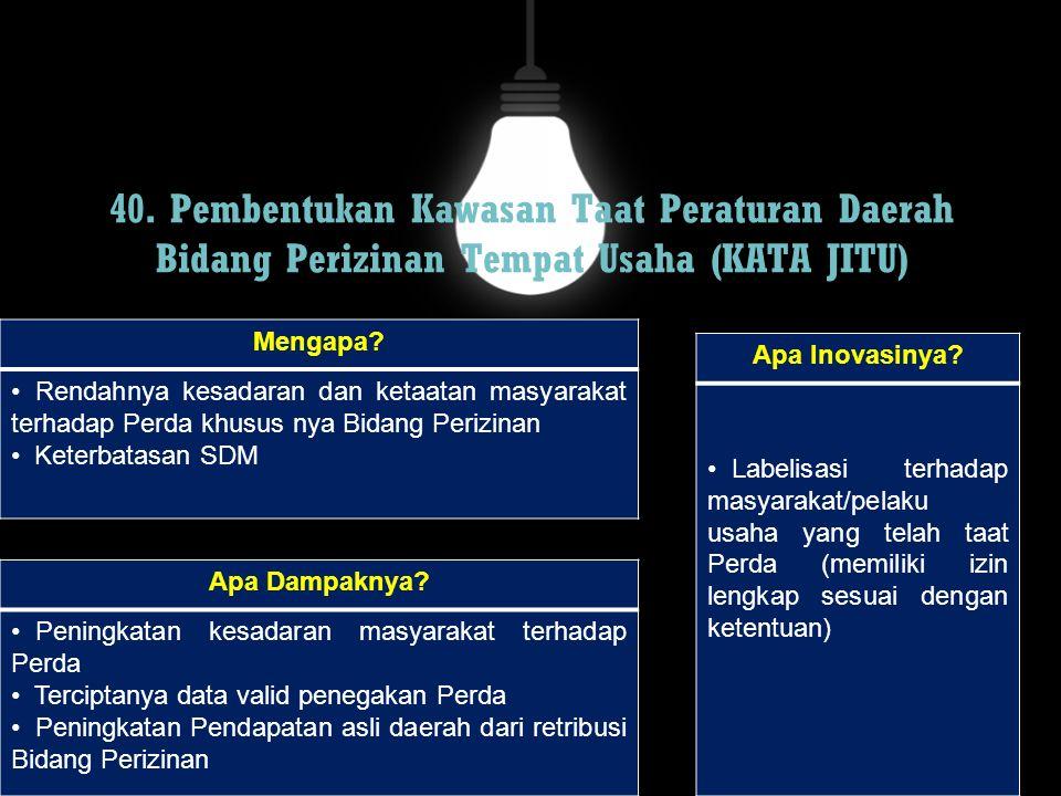 40. Pembentukan Kawasan Taat Peraturan Daerah Bidang Perizinan Tempat Usaha (KATA JITU) Mengapa? Rendahnya kesadaran dan ketaatan masyarakat terhadap