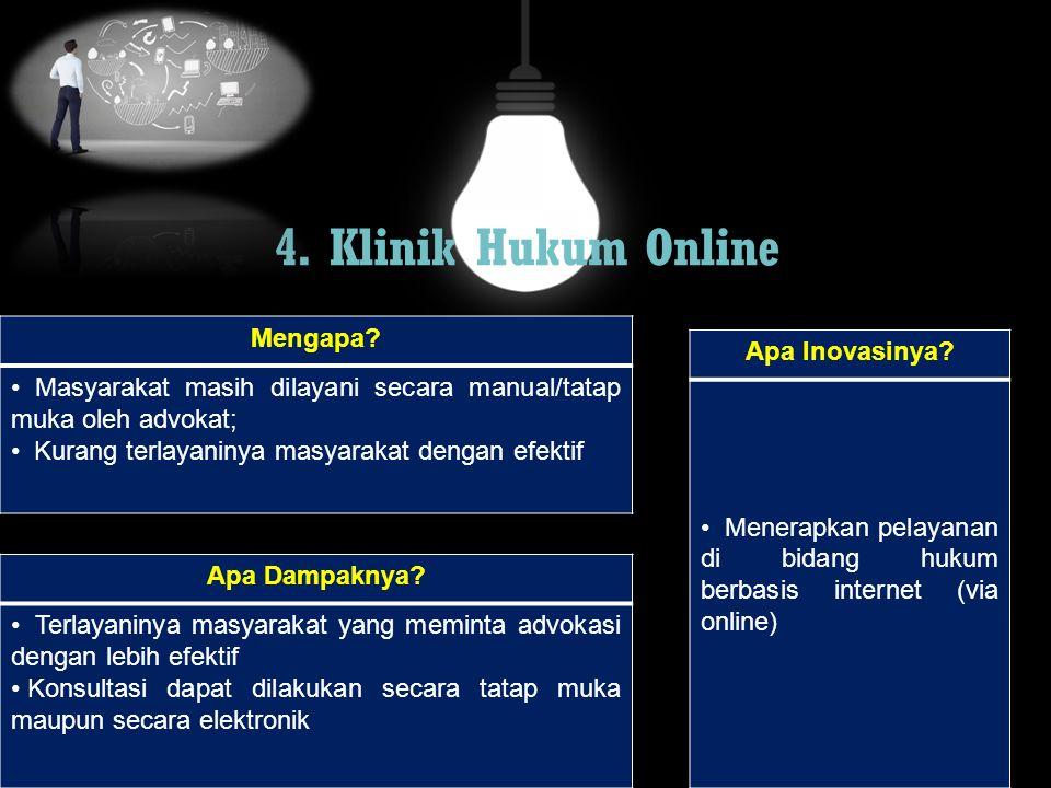 4. Klinik Hukum Online Mengapa? Masyarakat masih dilayani secara manual/tatap muka oleh advokat; Kurang terlayaninya masyarakat dengan efektif Apa Dam