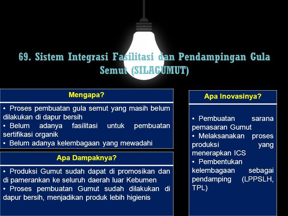 69. Sistem Integrasi Fasilitasi dan Pendampingan Gula Semut (SILAGUMUT) Mengapa? Proses pembuatan gula semut yang masih belum dilakukan di dapur bersi