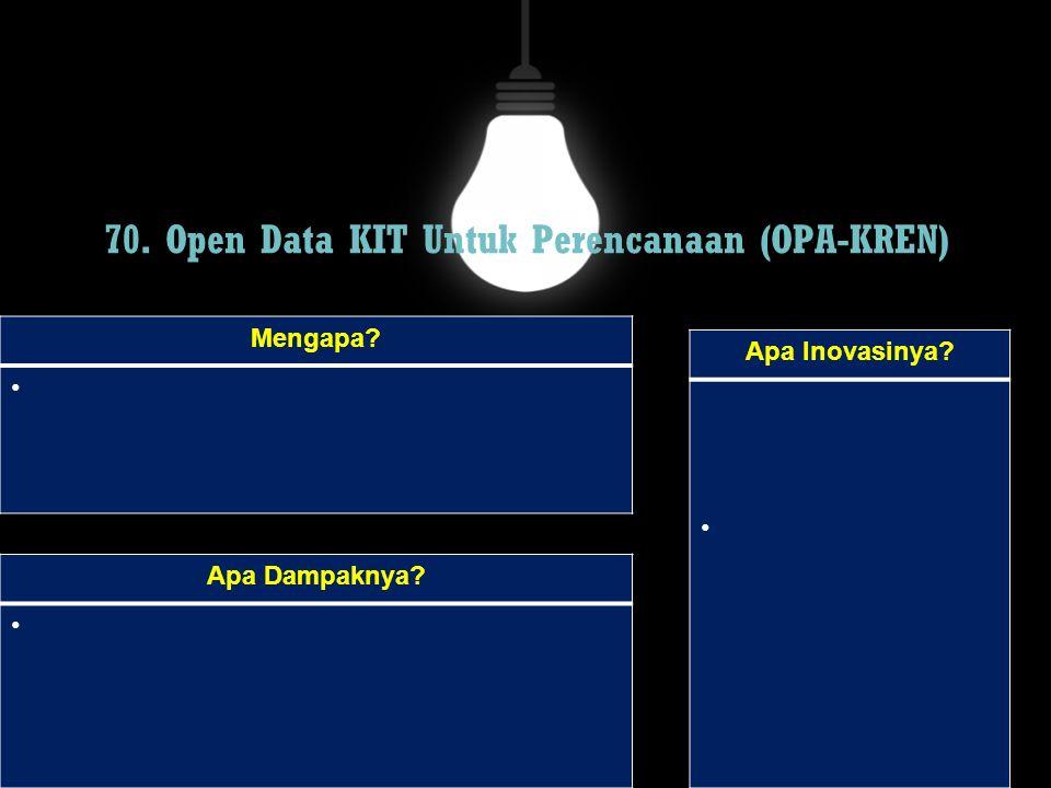 70. Open Data KIT Untuk Perencanaan (OPA-KREN) Mengapa? Apa Dampaknya? Apa Inovasinya?