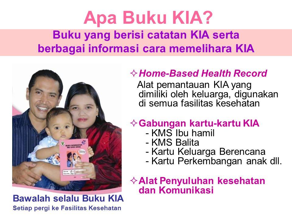 Apa Buku KIA?  Home-Based Health Record Alat pemantauan KIA yang dimiliki oleh keluarga, digunakan di semua fasilitas kesehatan  Gabungan kartu-kart