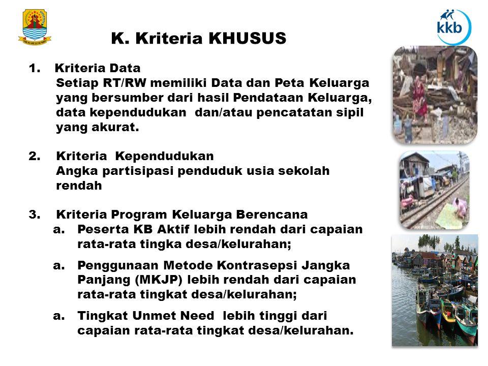 K. Kriteria KHUSUS 1.Kriteria Data Setiap RT/RW memiliki Data dan Peta Keluarga yang bersumber dari hasil Pendataan Keluarga, data kependudukan dan/at