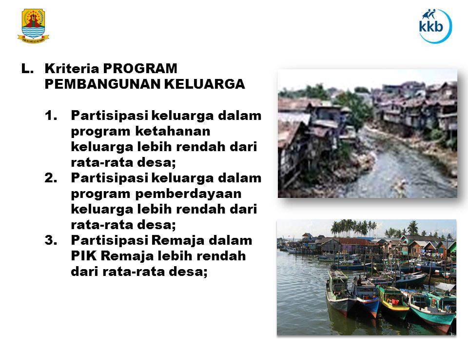 L.Kriteria PROGRAM PEMBANGUNAN KELUARGA 1.Partisipasi keluarga dalam program ketahanan keluarga lebih rendah dari rata-rata desa; 2.Partisipasi keluar