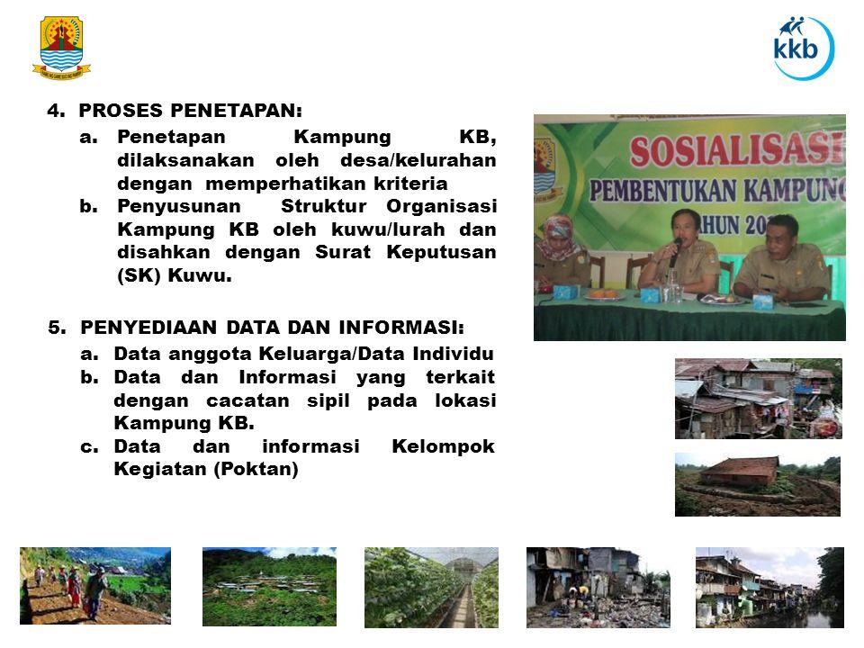 4. PROSES PENETAPAN: a.Penetapan Kampung KB, dilaksanakan oleh desa/kelurahan dengan memperhatikan kriteria b.Penyusunan Struktur Organisasi Kampung K