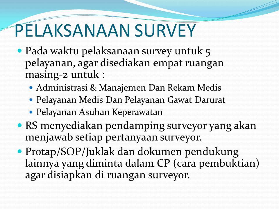 PELAKSANAAN SURVEY Pada waktu pelaksanaan survey untuk 5 pelayanan, agar disediakan empat ruangan masing-2 untuk : Administrasi & Manajemen Dan Rekam