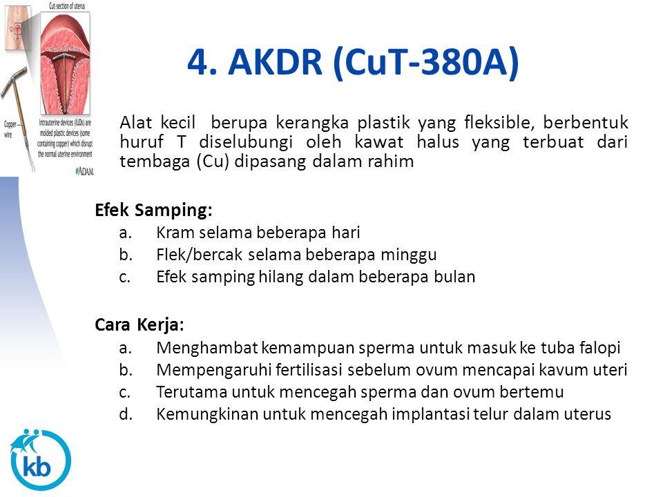 4. AKDR (CuT-380A) Alat kecil berupa kerangka plastik yang fleksible, berbentuk huruf T diselubungi oleh kawat halus yang terbuat dari tembaga (Cu) di