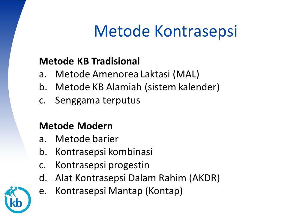 Metode Kontrasepsi Metode KB Tradisional a.Metode Amenorea Laktasi (MAL) b.Metode KB Alamiah (sistem kalender) c.Senggama terputus Metode Modern a.Met