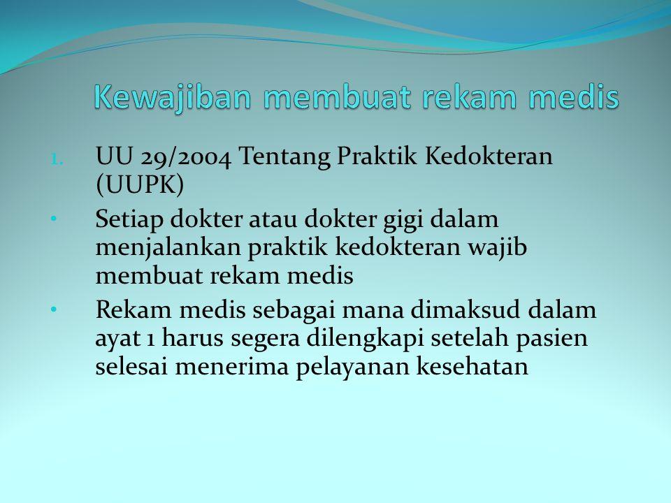 1. UU 29/2004 Tentang Praktik Kedokteran (UUPK) Setiap dokter atau dokter gigi dalam menjalankan praktik kedokteran wajib membuat rekam medis Rekam me