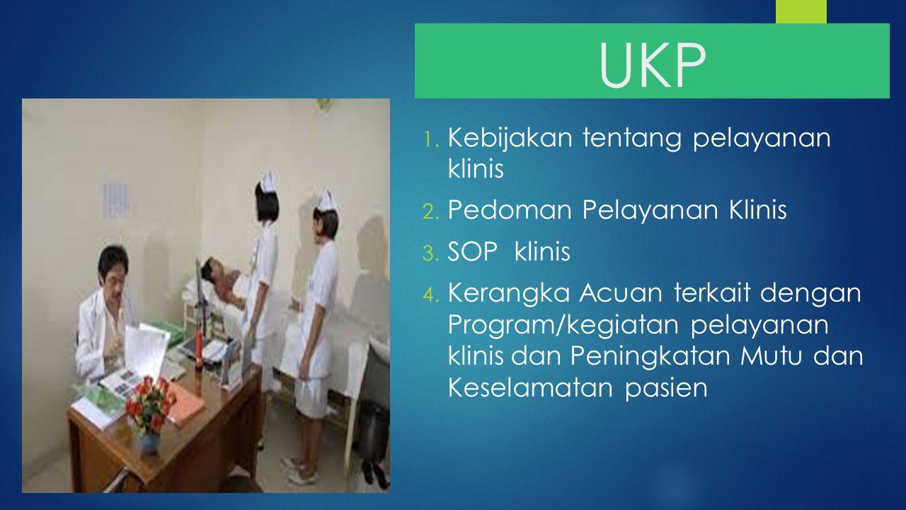 UKP 1. Kebijakan tentang pelayanan klinis 2. Pedoman Pelayanan Klinis 3. SOP klinis 4. Kerangka Acuan terkait dengan Program/kegiatan pelayanan klinis