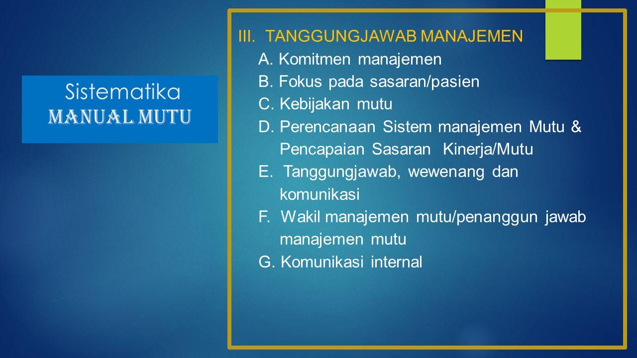 Sistematika MANUAL MUTU III. TANGGUNGJAWAB MANAJEMEN A. Komitmen manajemen B. Fokus pada sasaran/pasien C. Kebijakan mutu D. Perencanaan Sistem manaje