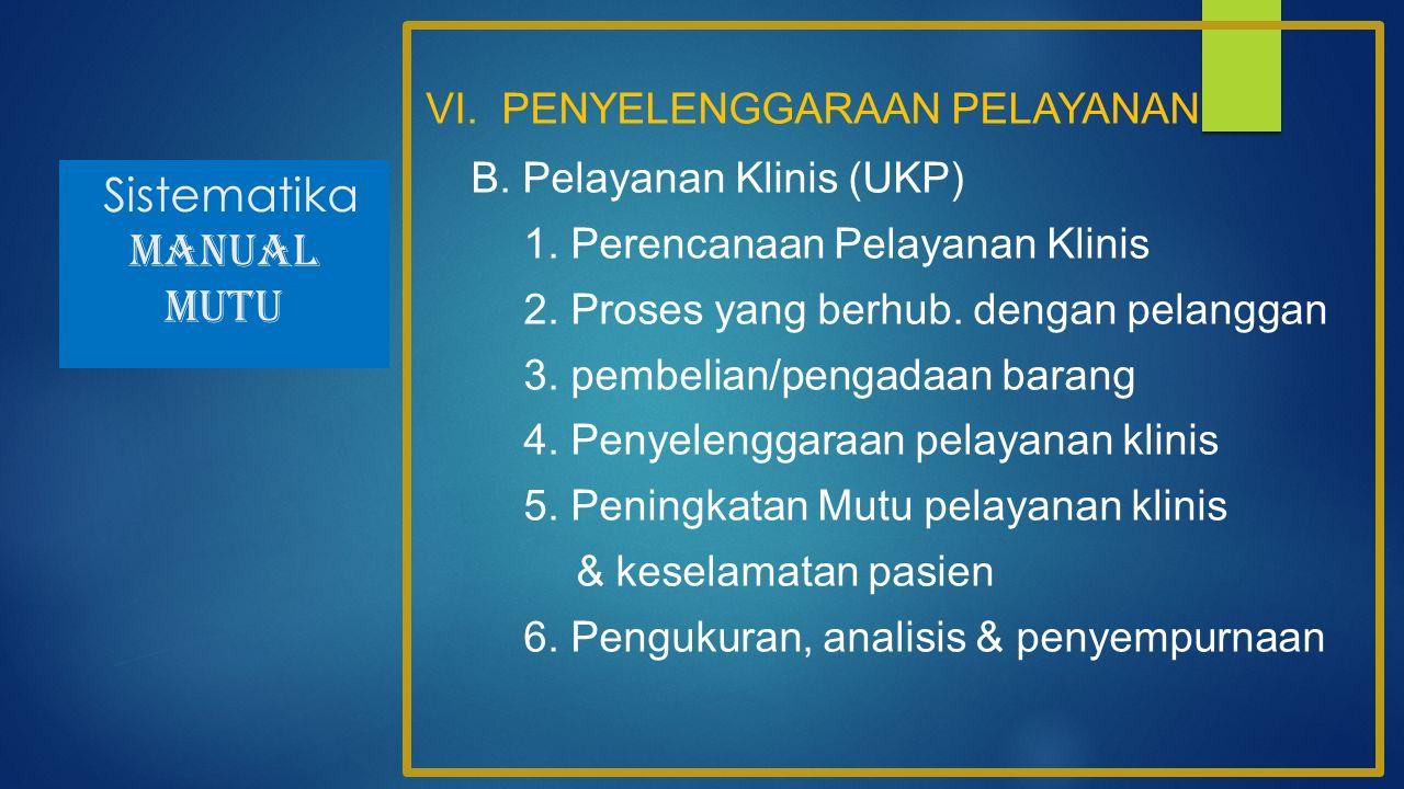 Sistematika MANUAL MUTU VI. PENYELENGGARAAN PELAYANAN B. Pelayanan Klinis (UKP) 1. Perencanaan Pelayanan Klinis 2. Proses yang berhub. dengan pelangga