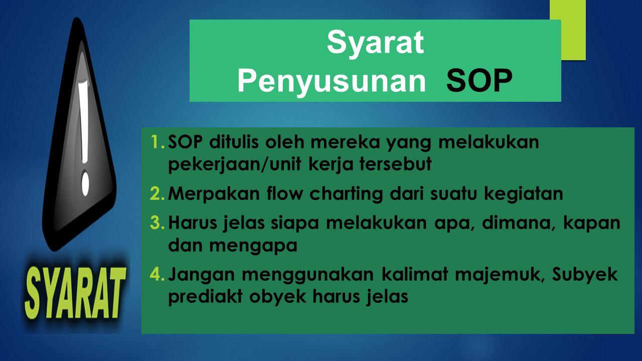 Syarat Penyusunan SOP 1.SOP ditulis oleh mereka yang melakukan pekerjaan/unit kerja tersebut 2.Merpakan flow charting dari suatu kegiatan 3.Harus jela