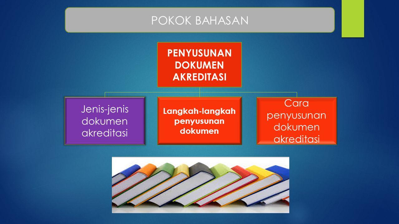 POKOK BAHASAN Langkah-langkah penyusunan dokumen PENYUSUNAN DOKUMEN AKREDITASI Jenis-jenis dokumen akreditasi Cara penyusunan dokumen akreditasi