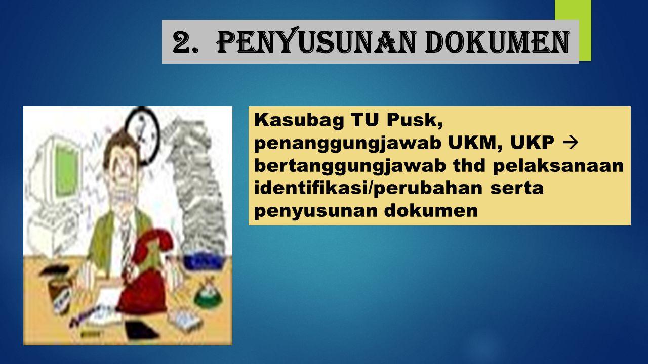 2. Penyusunan dokumen Kasubag TU Pusk, penanggungjawab UKM, UKP  bertanggungjawab thd pelaksanaan identifikasi/perubahan serta penyusunan dokumen