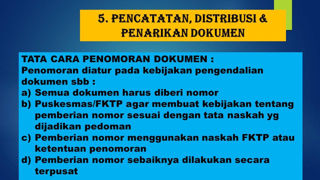 5. Pencatatan, distribusi & penarikan dokumen TATA CARA PENOMORAN DOKUMEN : Penomoran diatur pada kebijakan pengendalian dokumen sbb : a)Semua dokumen