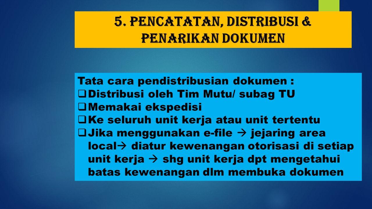5. Pencatatan, distribusi & penarikan dokumen Tata cara pendistribusian dokumen :  Distribusi oleh Tim Mutu/ subag TU  Memakai ekspedisi  Ke seluru