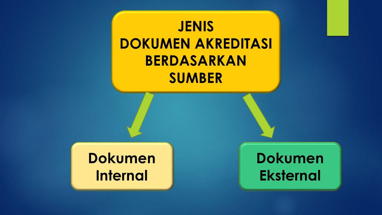 JENIS DOKUMEN AKREDITASI BERDASARKAN SUMBER Dokumen Eksternal Dokumen Internal
