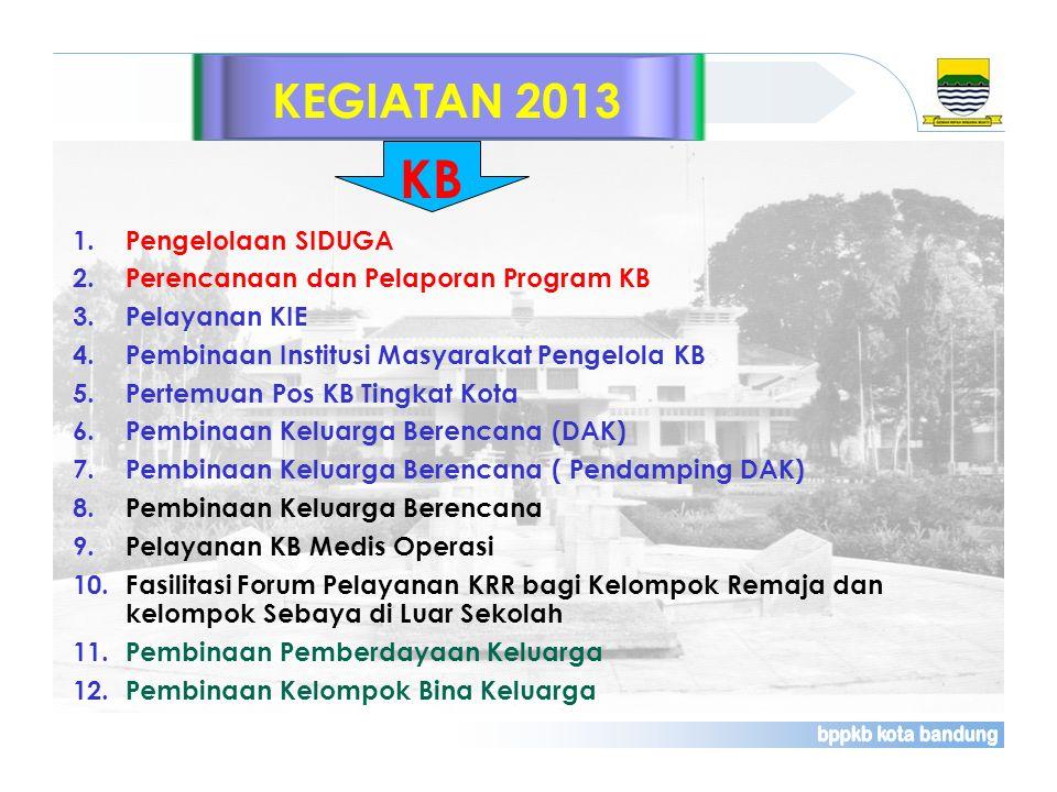 KEGIATAN 2013 1.Pengelolaan SIDUGA 2.Perencanaan dan Pelaporan Program KB 3.Pelayanan KIE 4.Pembinaan Institusi Masyarakat Pengelola KB 5.Pertemuan Po