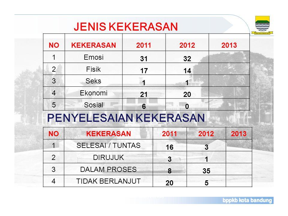 JENIS KEKERASAN Sumber : Laporan Rutin Bulanan Pelayanan Kontrasepsi (Rek. Kab. F/II/KB) NOKEKERASAN201120122013 1Emosi 3132 2Fisik 1714 3Seks 11 4Eko