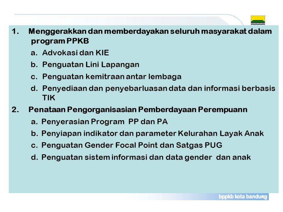 1. Menggerakkan dan memberdayakan seluruh masyarakat dalam program PPKB a.Advokasi dan KIE b.Penguatan Lini Lapangan c.Penguatan kemitraan antar lemba