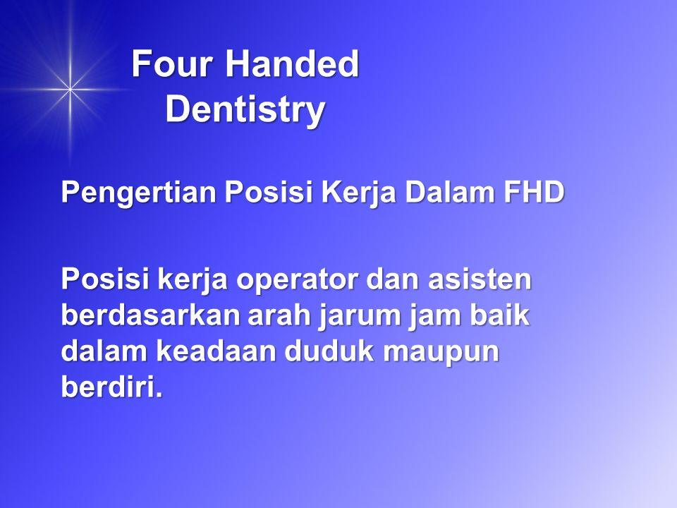 Four Handed Dentistry Pengertian Posisi Kerja Dalam FHD Posisi kerja operator dan asisten berdasarkan arah jarum jam baik dalam keadaan duduk maupun berdiri.