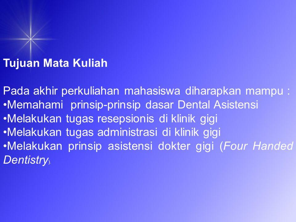 Four Handed Dentistry.PEMBAGIAN POSISI KERJA 2 orang yang berada disekitar pasien yaitu operator/dokter Gigi dan atau Perawat Gigi.