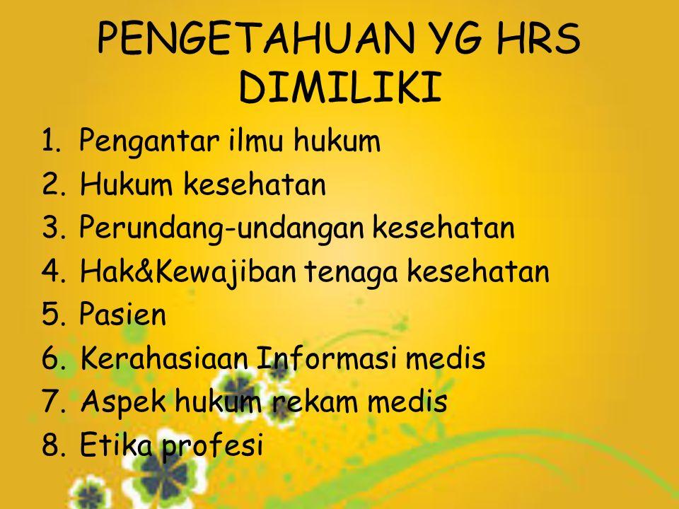 PENGETAHUAN YG HRS DIMILIKI 1.Pengantar ilmu hukum 2.Hukum kesehatan 3.Perundang-undangan kesehatan 4.Hak&Kewajiban tenaga kesehatan 5.Pasien 6.Kerahasiaan Informasi medis 7.Aspek hukum rekam medis 8.Etika profesi