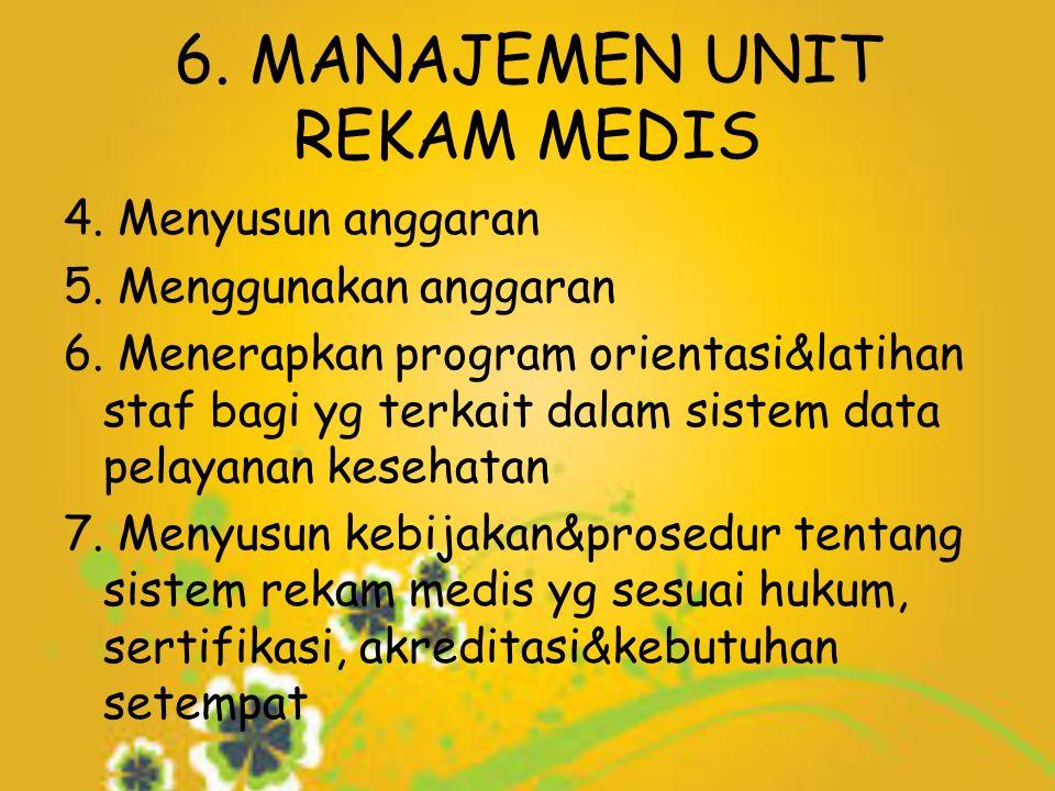 6. MANAJEMEN UNIT REKAM MEDIS 4. Menyusun anggaran 5.