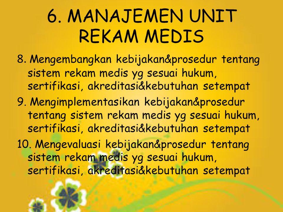 6. MANAJEMEN UNIT REKAM MEDIS 8.