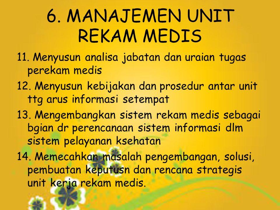 6. MANAJEMEN UNIT REKAM MEDIS 11. Menyusun analisa jabatan dan uraian tugas perekam medis 12.